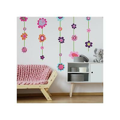 New Giant FLOWER STRIPE WALL DECALS Flowers Stickers Girls Floral Deco Decor