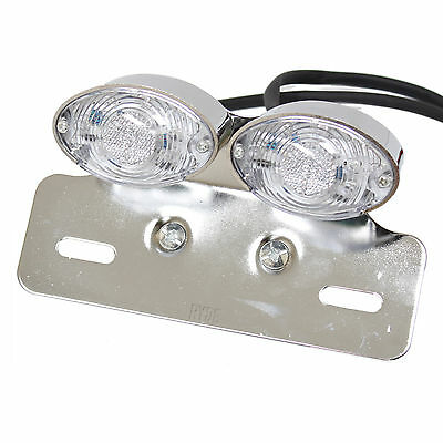 Ryde Led Chrome Double Motorcycle/bike Tail/brake/indicator/number Plate Light