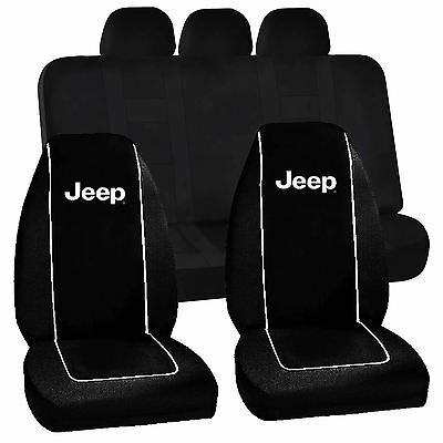 Jeep Mopar classic style logo bucket Seat Covers & Classic Black Bench Seat Cove