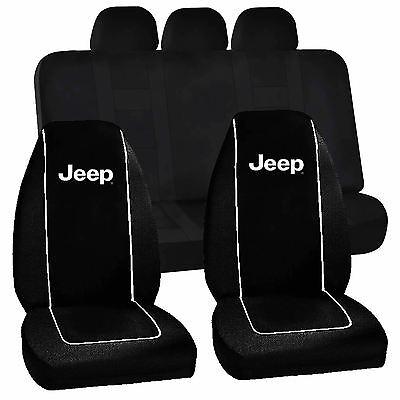 Jeep classic style logo bucket Seat Covers & Classic Black Bench Seat Cover Set