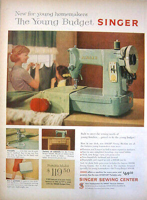 1959 Homemakers Young Budget Singer Sewing Machine Print Ad!
