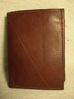 Non-Branded Mens Burgundy Genuine Leather Trifold Wallet w/ 6 Credit Card Slots