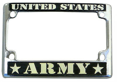 United States Army Motorcycle License Plate Frame Chrome Metal
