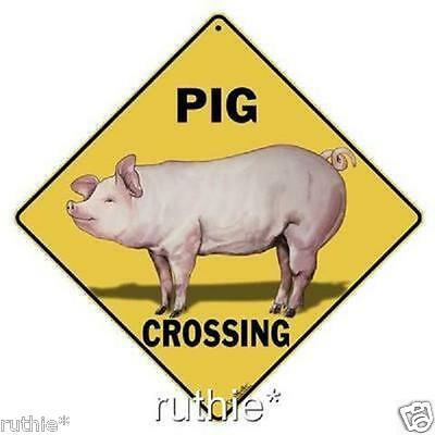 "Pig Metal Crossing Sign 16 1/2"" x 16 1/2"" Diamond shape Made USA #301"