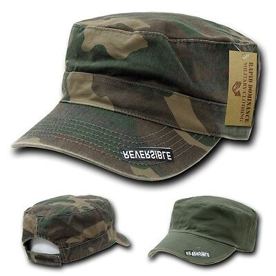 Woodland Camouflage & Olive Green Reversible Cadet Flat Top Cap Caps Hat Hats