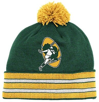 NFL Mitchell and Ness Green Bay Packers Throwback Pom Cuffed Knit Hat  Beanie Cap 5bfbd4cc8