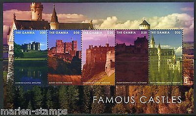 Gambia 2013 Famous Castles Of The World Dover Edinburgh  Sheet Of Five  Mint Nh