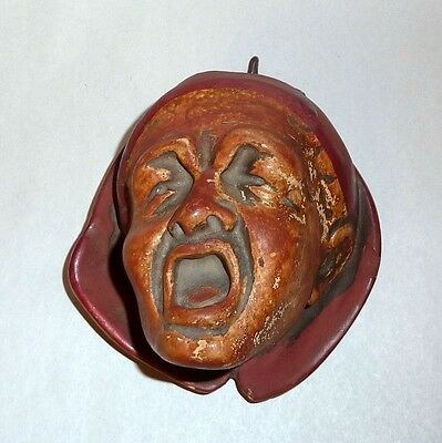 "Antique 19th Century Man's Screaming Head 4"" Chalkware Match Holder"