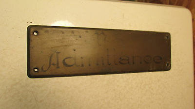 "Antique Cast Brass "" No Admittance"" Plaque  #2"