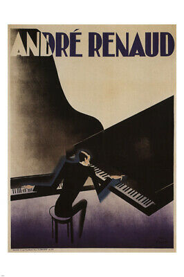 1929 ANDRE RENAUD PLAYING GRAND PIANO-S PAUL COLIN ART DECO 12X18 POSTER GRAPHIC
