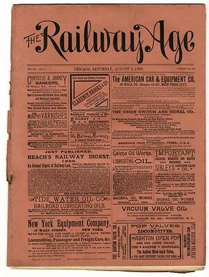 "[36960R] August 2, 1890 Issue Of ""the Railway Age"" Newspaper"