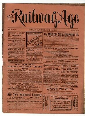 "[36950R] June 28, 1890 Issue Of ""the Railway Age"" Newspaper"