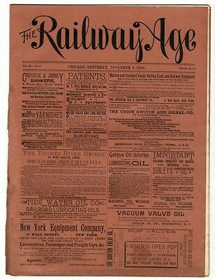 "[36953R] November 8, 1890 Issue Of ""the Railway Age"" Newspaper"