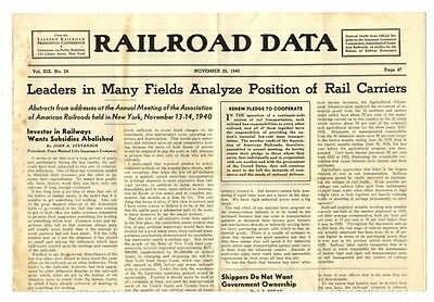 [36969R] November 22, 1940 Railroad Data Newspaper