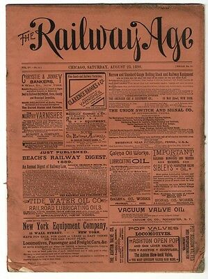 "[36957R] August 16, 1890 Issue Of ""the Railway Age"" Newspaper"