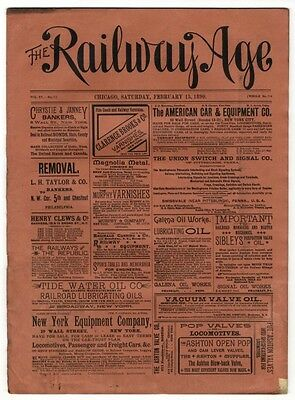 "[36948R] February 15, 1890 Issue Of ""the Railway Age"" Newspaper"