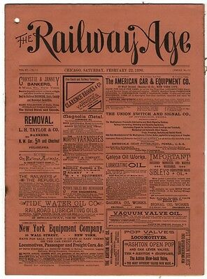 "[36952R] February 22, 1890 Issue Of ""the Railway Age"" Newspaper"