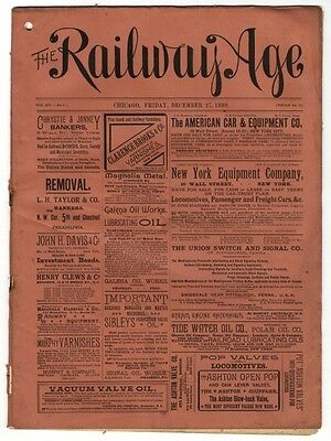 "[36962R] December 27, 1889 Issue Of ""the Railway Age"" Newspaper"
