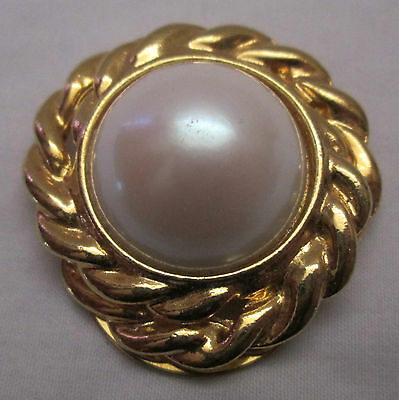 Vintage SHAWL & SCARF Clasp Clip Goldtone Large Faux Pearl Center
