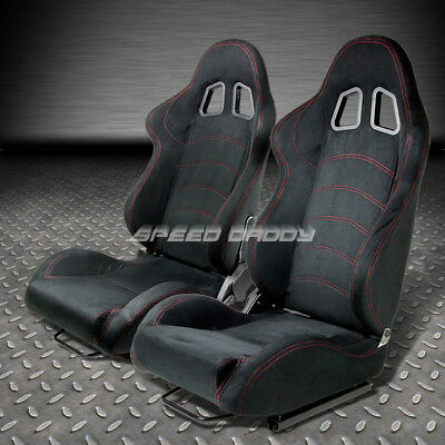 2 X T1 Fully Reclinable Real Suede Racing Seat/seats+Slider Black+Red Stitches