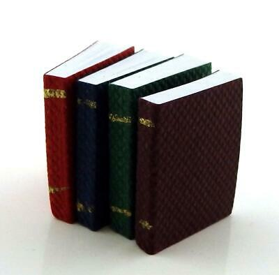 Dolls House 4 Bound Books with Pages Miniature Study School Library Accessory