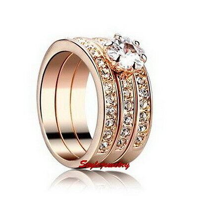 18k Rose Gold Plated Crystal Wedding Engagement Eternity Ring Set R183