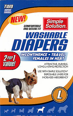 2Pk Simple Solution Washable Dog Diapers Cover Ups L Large Dogs Puppy 35-55 lbs