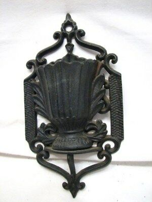 Antique Cast Iron Match Safe Holder Wall Pocket 1867 Patent Ornate Basket