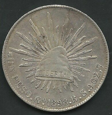 MEXICO, 1898-GoRS, 8 REALS, SILVER, KM#409.1, EXTRA FINE- ALMOST UNCIRCULATED