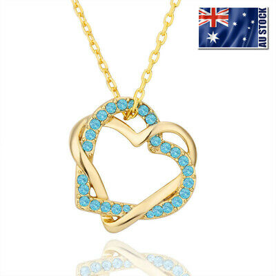 New 18K Gold Filled Women's Heart Pendant Necklace With Swarovski Crystal