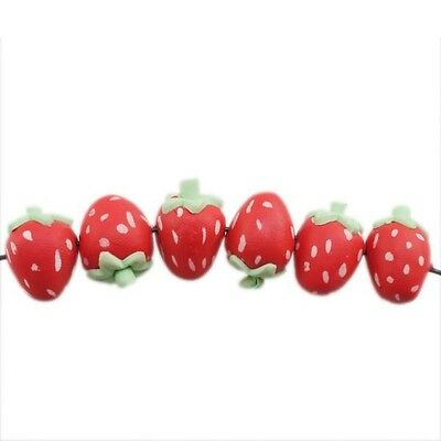 30pcs 112424 Wholesale Strawberry Red FIMO Polymer Clay Beads Charms Fit DIY