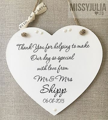 Personalised THANK YOU Wooden Sign Wedding Plaque Keepsake SHABBY CHIC W19