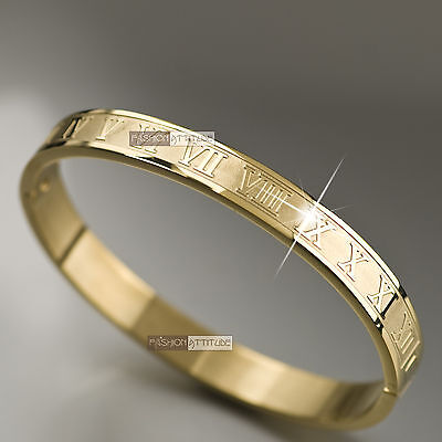Yellow gold stainless steel bangle mens womens Roman numerals bracelet