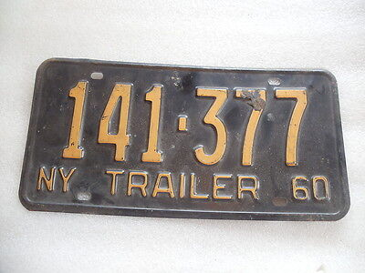 1960 New York State issued Trailer license plate #141-377