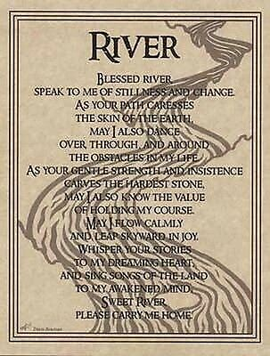 RIVER WATER PRAYER POSTER  A4 SIZE Wicca Pagan Witch Witchcraft BOOK OF SHADOWS
