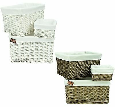 Deep Wicker Storage Basket Hamper with Cotton Liner in 3 Sizes Choice of Designs