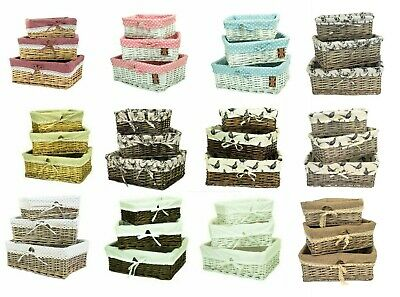 Wicker Shallow Storage Basket with Cotton Liner in 3 Sizes & Choice of Designs