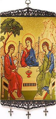 NEW! Holy Trinity Three Angels Icon Tapestry Religious Home Chapel Wall Art 13""