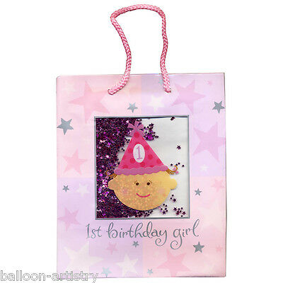 "9.5"" Happy 1st Birthday Girl Party Pink Confetti Shaker MEDIUM Paper Gift Bag"