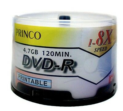 50 Princo 8X White Inkjet Printable DVD-R Disc 4.7GB Free Expedited Shipping
