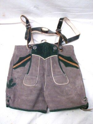 Vintage Pair Child's Lederhosen German Bavarian Leather Shorts w/Suspenders