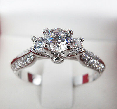 Classy 18K White Gold GP 1.8CT Simulated Diamond 3 Stones Ring size 7 size N