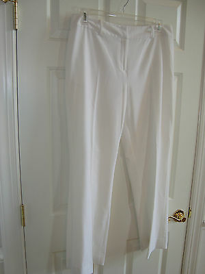 Russell Scott Ivory/White Poly/Rayon/Spandex Front Zip Dress/Career Pants 14 EUC