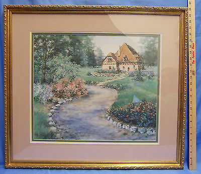 Large Wood Framed Print Garden Walkway To A Simple Cottage Thatched Roof