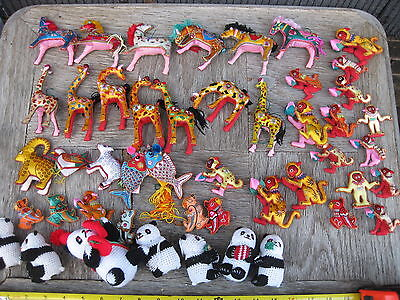 46 pieces VINTAGE CHINESE STUFF ANIMALS HANDMADE SUPER RARE COLLECTOR ITEMS