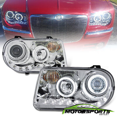 05-10 Chrysler 300C Dual CCFL Halo Ring Projector LED Chrome Headlights Pair New