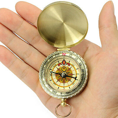 Pocket Brass Watch Style Outdoor Camping Hiking Navigation Compass Ring Keychain
