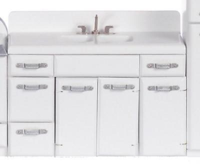 Melody Jane Dolls House 1950's White Double Sink Unit 1:12 Kitchen Furniture
