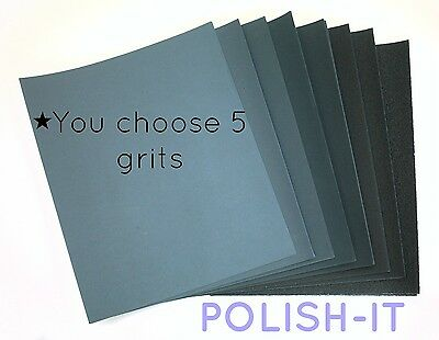 25 Sheets Of Wet And Dry Mix Of 5 Grits -You Choose! Excellent Price & Quality