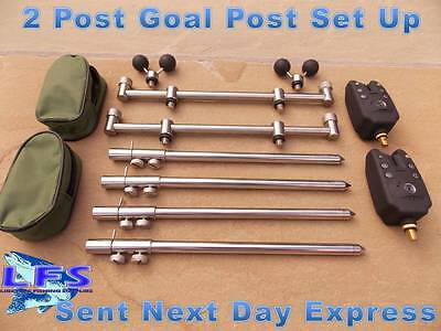 2 Goal Post Buzz Bars Set + 4 Fishing Banksticks + 2 Balls + 2 Bite Alarms 2 ROD
